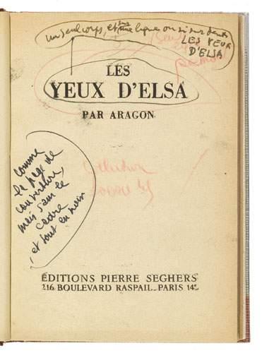Louis Aragon Les Yeux D Elsa : louis, aragon, Louis, ARAGON., D'Elsa, (Paris,, Éditions, Pierre, Seghers,, [1945]), Lettres, Manuscrits, Autographes,, Souvenirs, Historiques, Piasa, Auction.fr