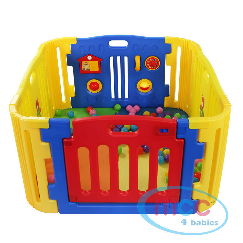 4 Sided Plastic Baby Playpen with Corner Sections  MCC