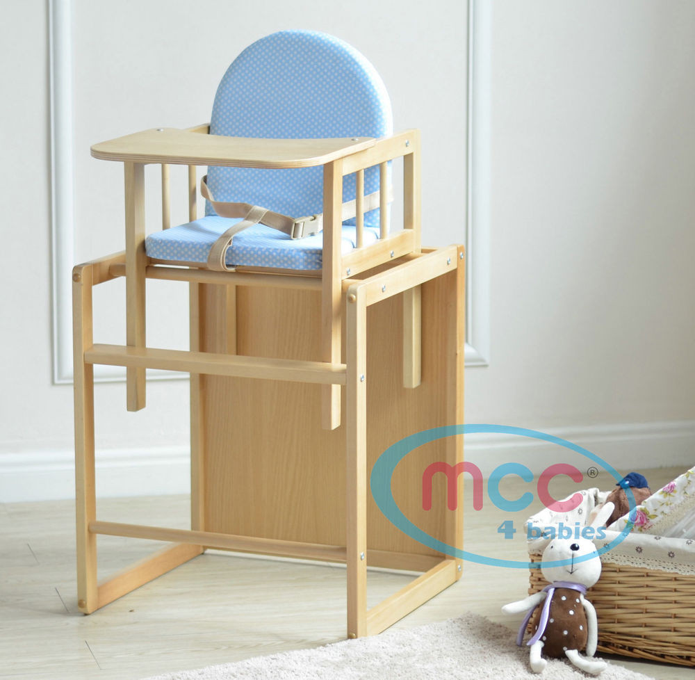 Wooden High Chairs For Babies Blue 3 In 1 Baby Wooden High Chair With Play Table Cushion