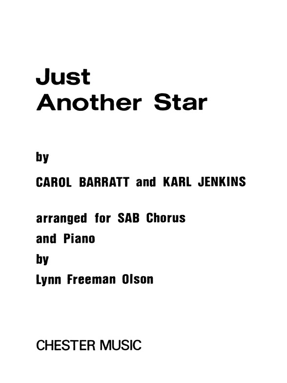 Partitions : Just Another Star (SAB, Piano)