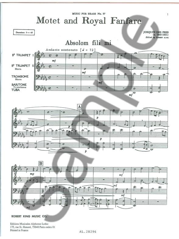 Josquin Des Prés: Motet And Royal Fanfare (Brass Quartet