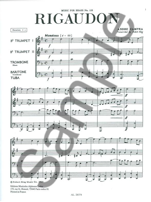 André Campra: Rigaudon (Brass Quartet) (Score/Parts