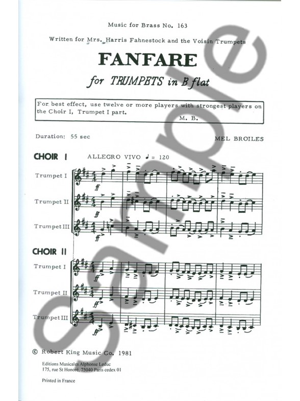 Mel Broiles: Fanfare For Six Trumpets (Score/Parts