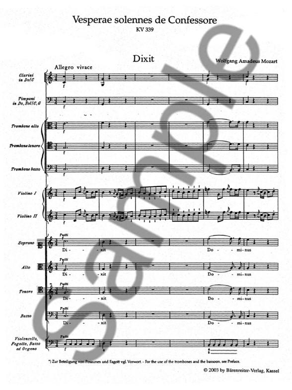 W.A. Mozart: Vesperae Solennes De Confessore K.339