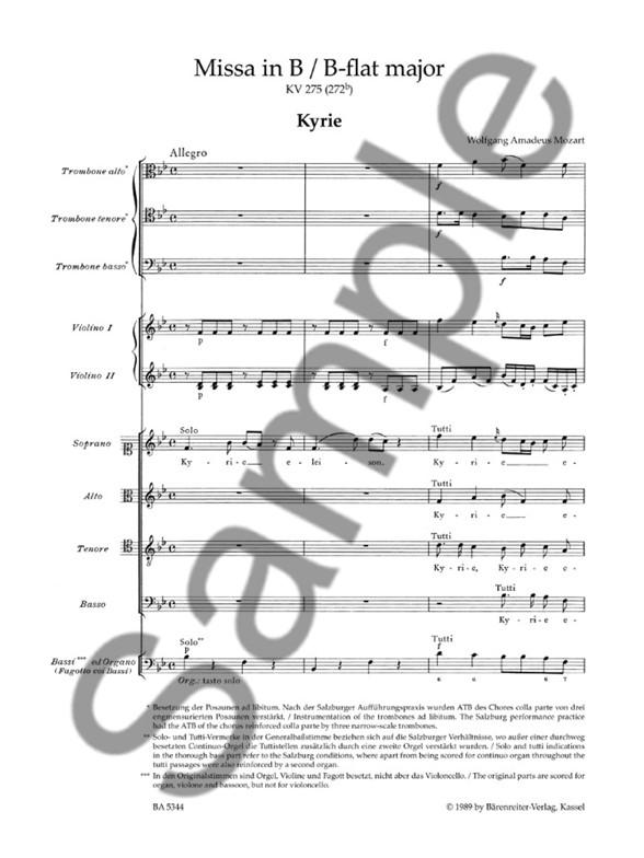 W.A. Mozart: Missa Brevis In B Flat K. 275 (Full Score