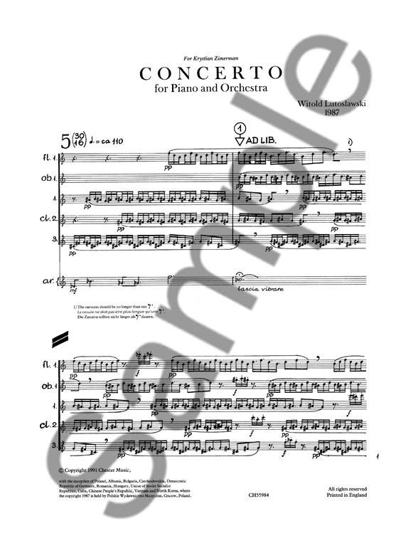Witold Lutoslawski: Concerto For Piano And Orchestra