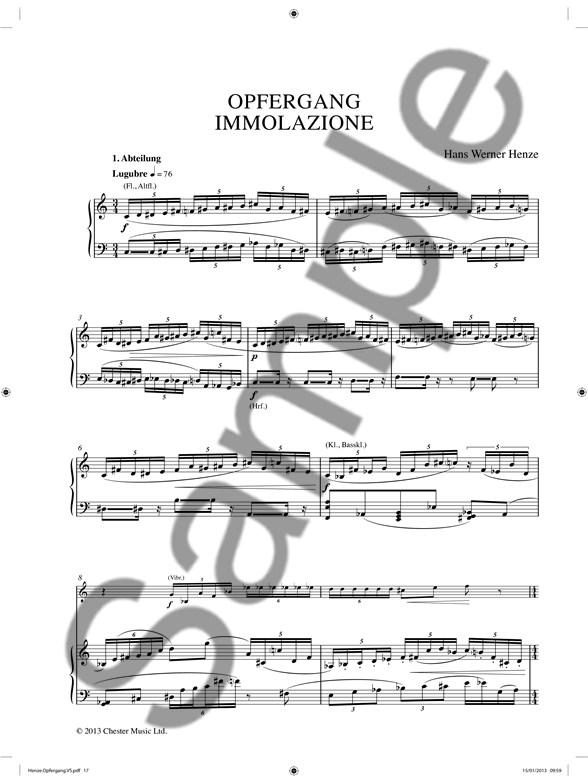 Hans Werner Henze: Opfergang Immolazione (Vocal Score