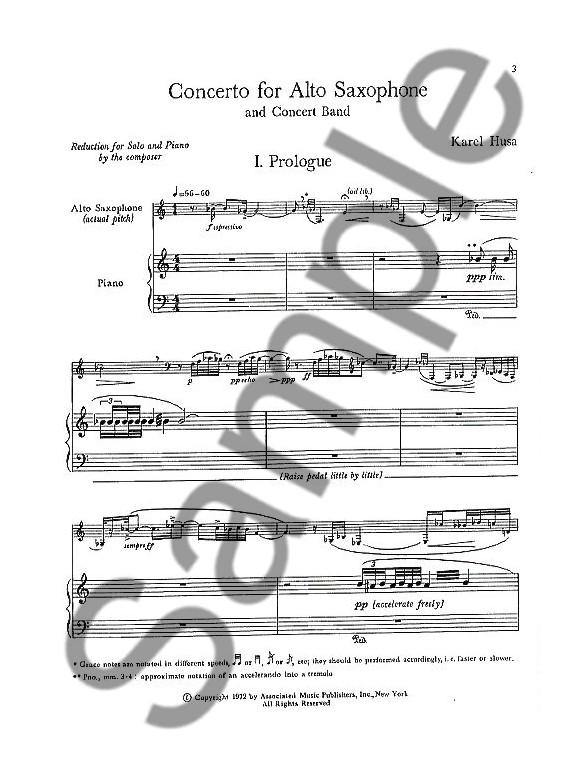 Karel Husa: Concerto For Alto Saxophone And Concert Band