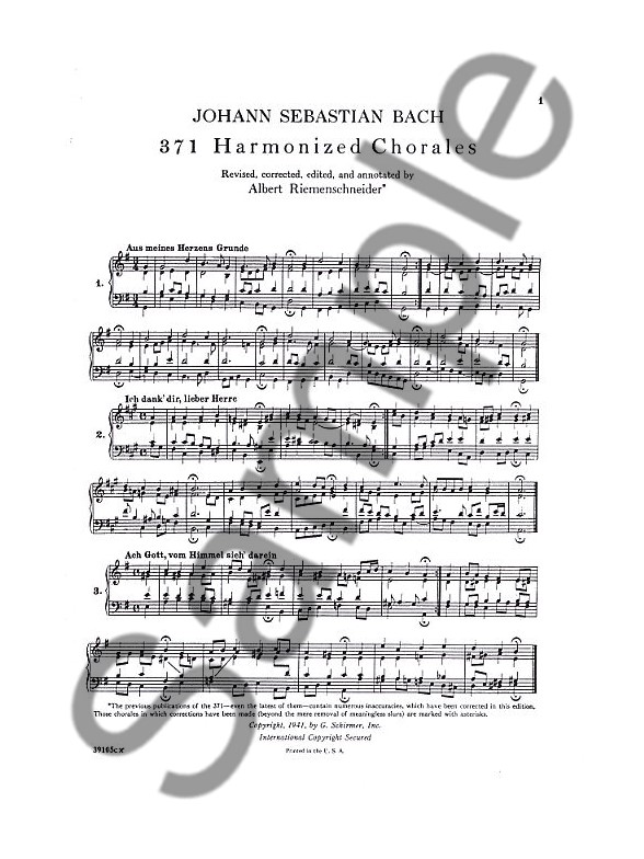 J.S. Bach: 371 Harmonized Chorales And 69 Chorale Melodies