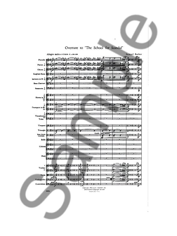 Samuel Barber: Overture To School For Scandal (Study Score