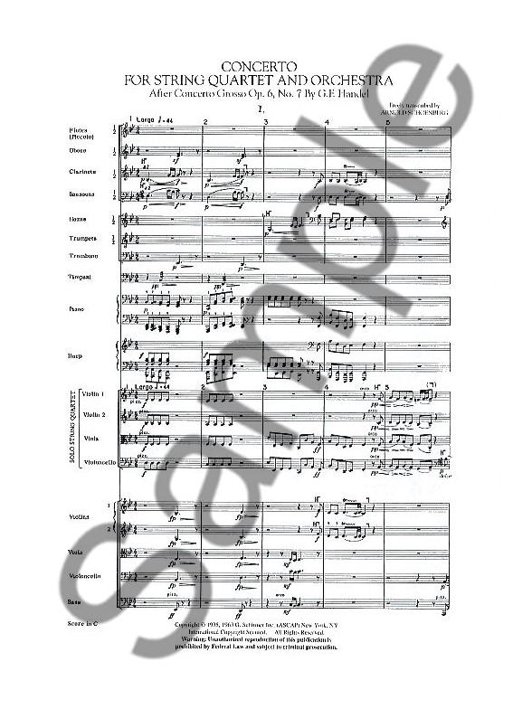 Arnold Schoenberg: Concerto For String Quartet And