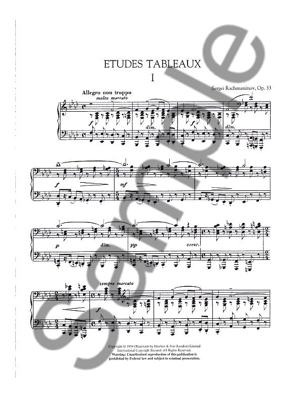 Sergei Rachmaninov: Etudes Tableaux Op.33 And Nine Etudes