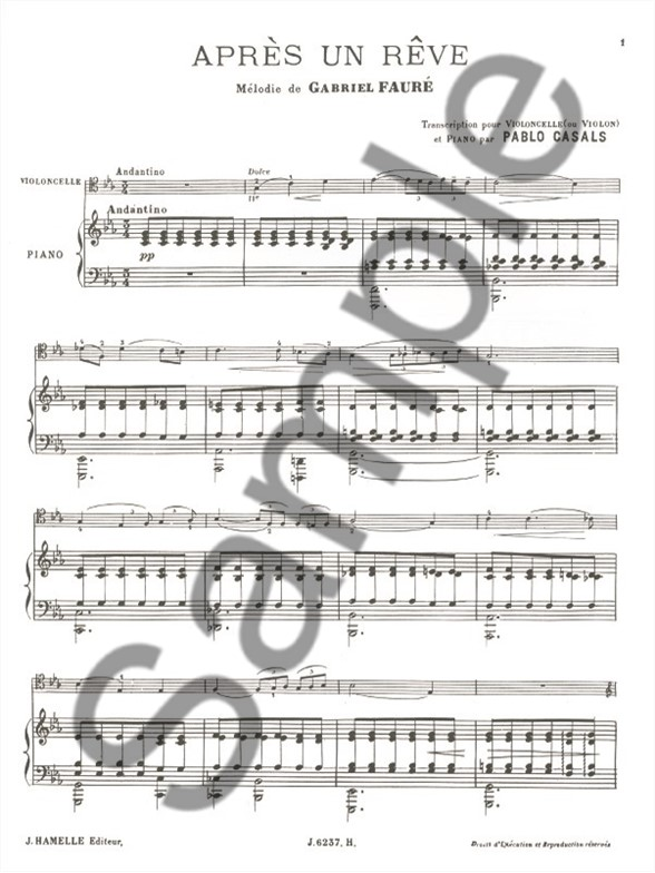 Gabriel Fauré: Après Un Rêve Op.7 No.1 (Violin, Viola or