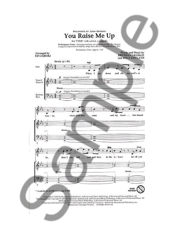 Brendan Graham and Rolf Lovland: You Raise Me Up (TTBB