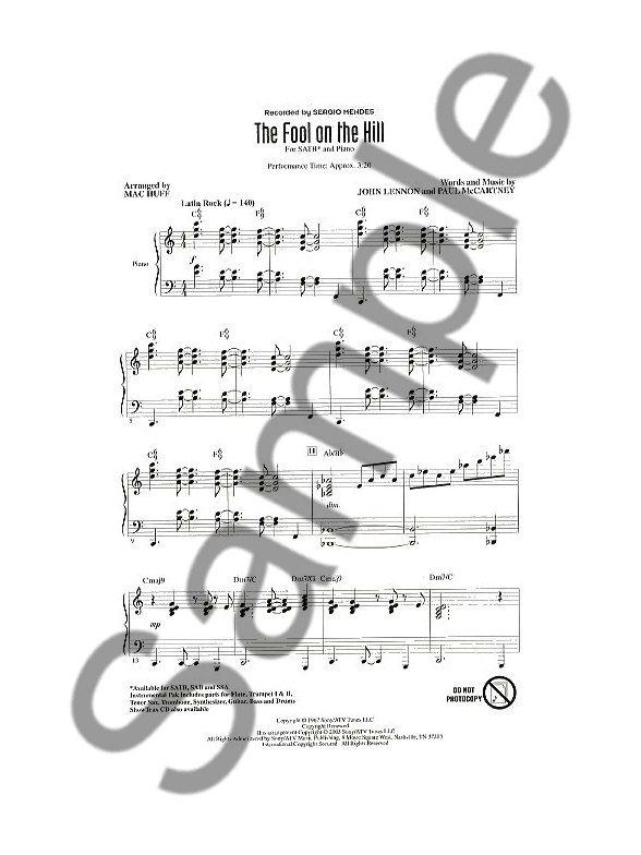 The Beatles: The Fool On The Hill (SATB