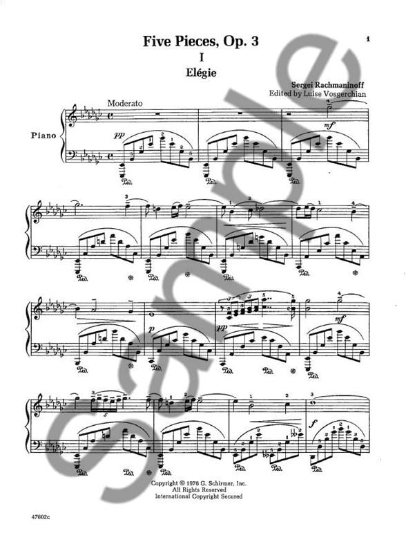 Sergei Rachmaninoff: 5 Pieces For Piano: Op. 3 (VAAP