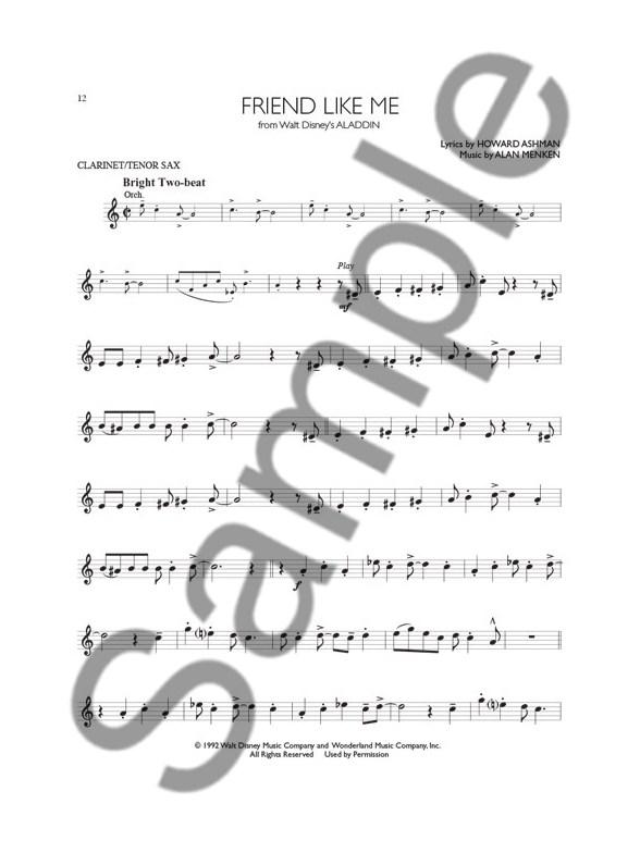 Disney Solos (Clarinet Or Tenor Saxophone) (Book/Online