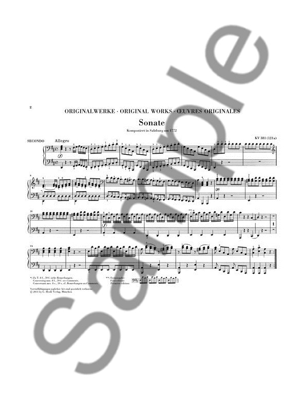 W.A. Mozart: Works For Piano Four-Hands (Revised Urtext