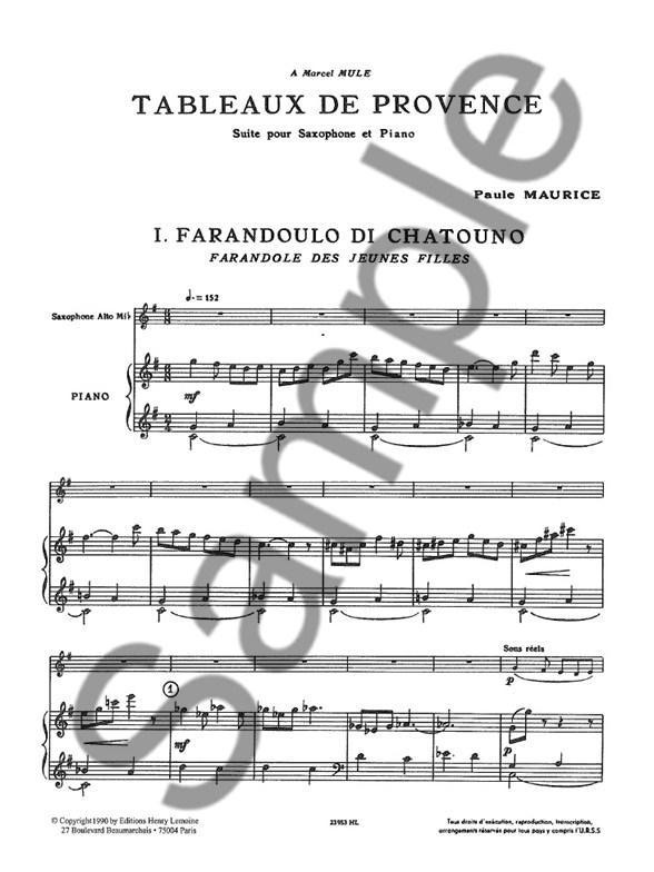 Paule Maurice: Tableaux de Provence (Saxophone-Alto