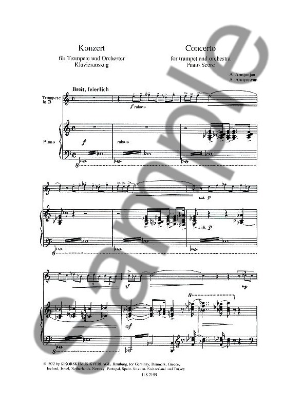 Alexander Arutiunian: Trumpet Concerto (Trumpet/Piano