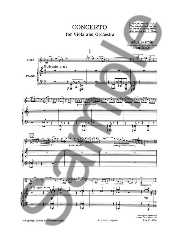 Bela Bartok: Viola Concerto Op. Posthumous (Viola/Piano