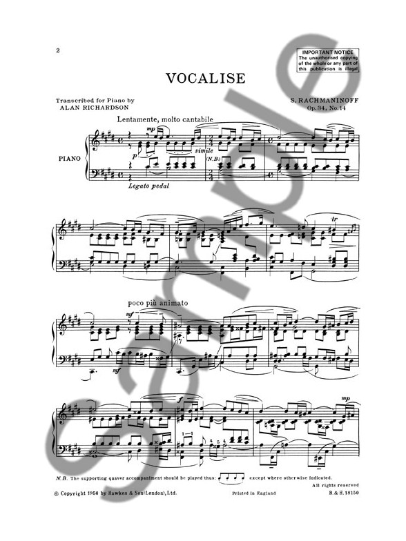 Sergei Rachmaninov: Vocalise Op.34 No.14 (Piano Solo