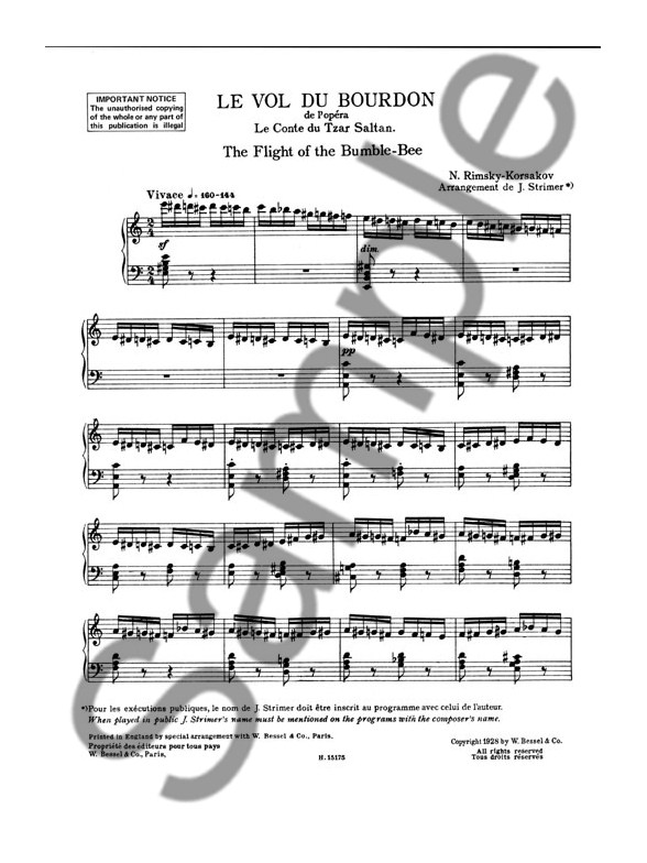 Nikolay Rimsky-Korsakov: Flight Of The Bumble Bee (Piano