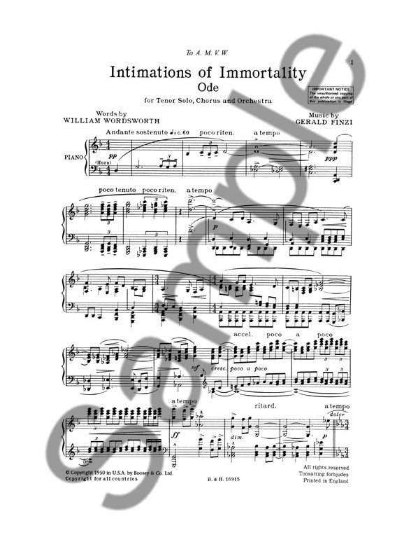 Gerald Finzi: Intimations Of Immortality Op.29 (Vocal