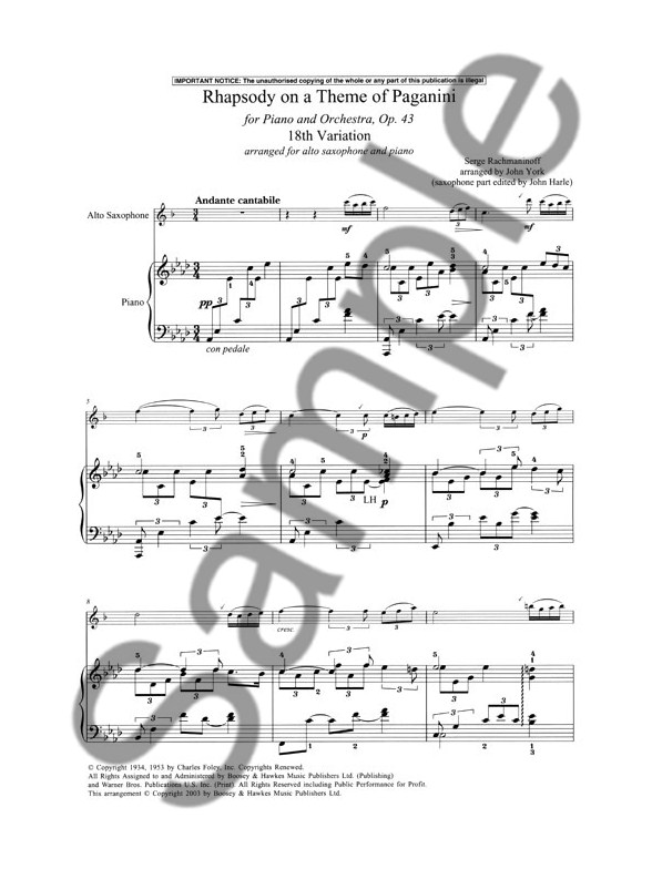 Serge Rachmaninoff: Rhapsody On A Theme Of Paganini 18th