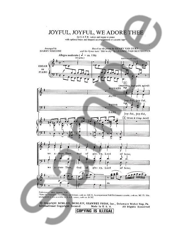 Ludwig Van Beethoven: Joyful, Joyful, We Adore Thee SATB