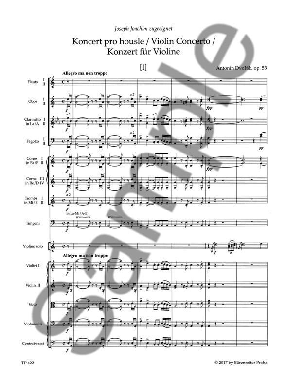 A. Dvorak: Violin Concerto In A minor Op.53 (Study Score