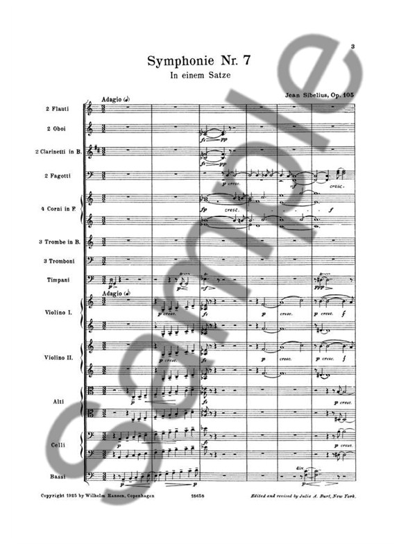 Jean Sibelius: Symphony No.7 Op.105 (Full Score