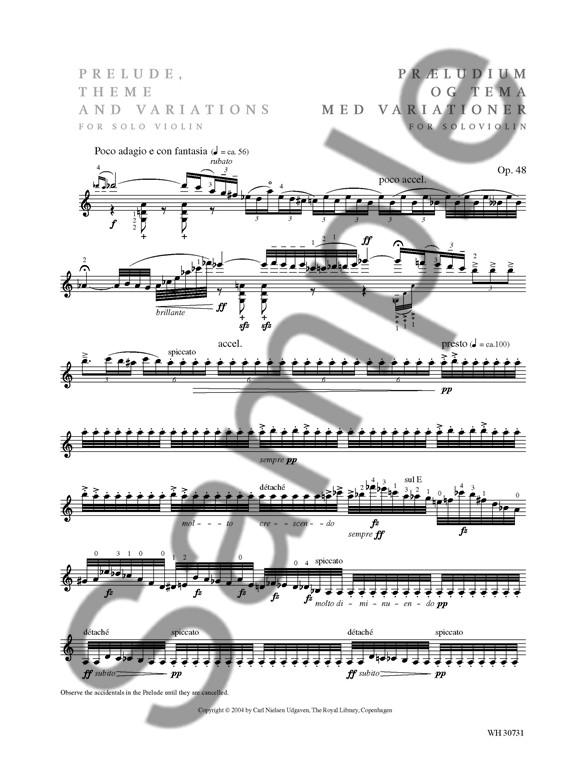 Carl Nielsen: Prelude, Theme And Variations Op.48 (Violin
