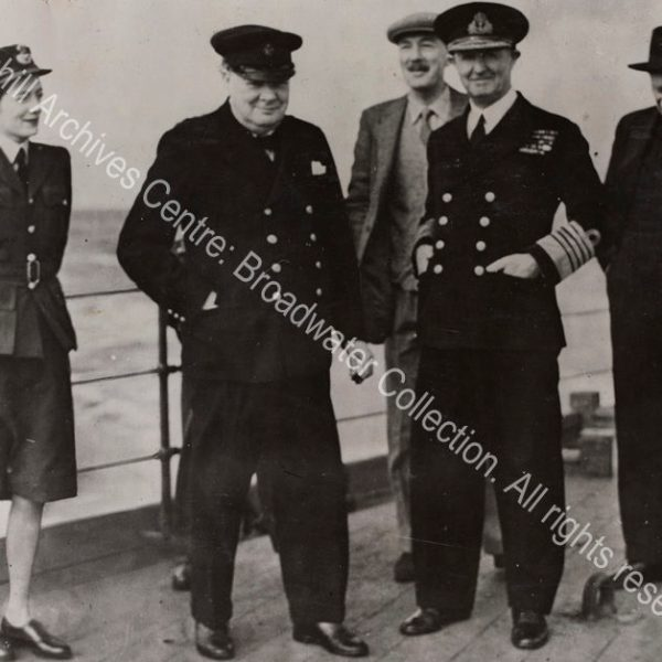 Photo on the deck of HMS Renown. From left to right: Sarah Churchill [earlier Sarah Oliver