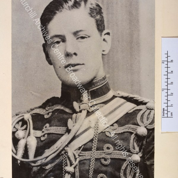 Head and shoulders portrait photograph of WSC wearing the uniform of the 4th Hussars.