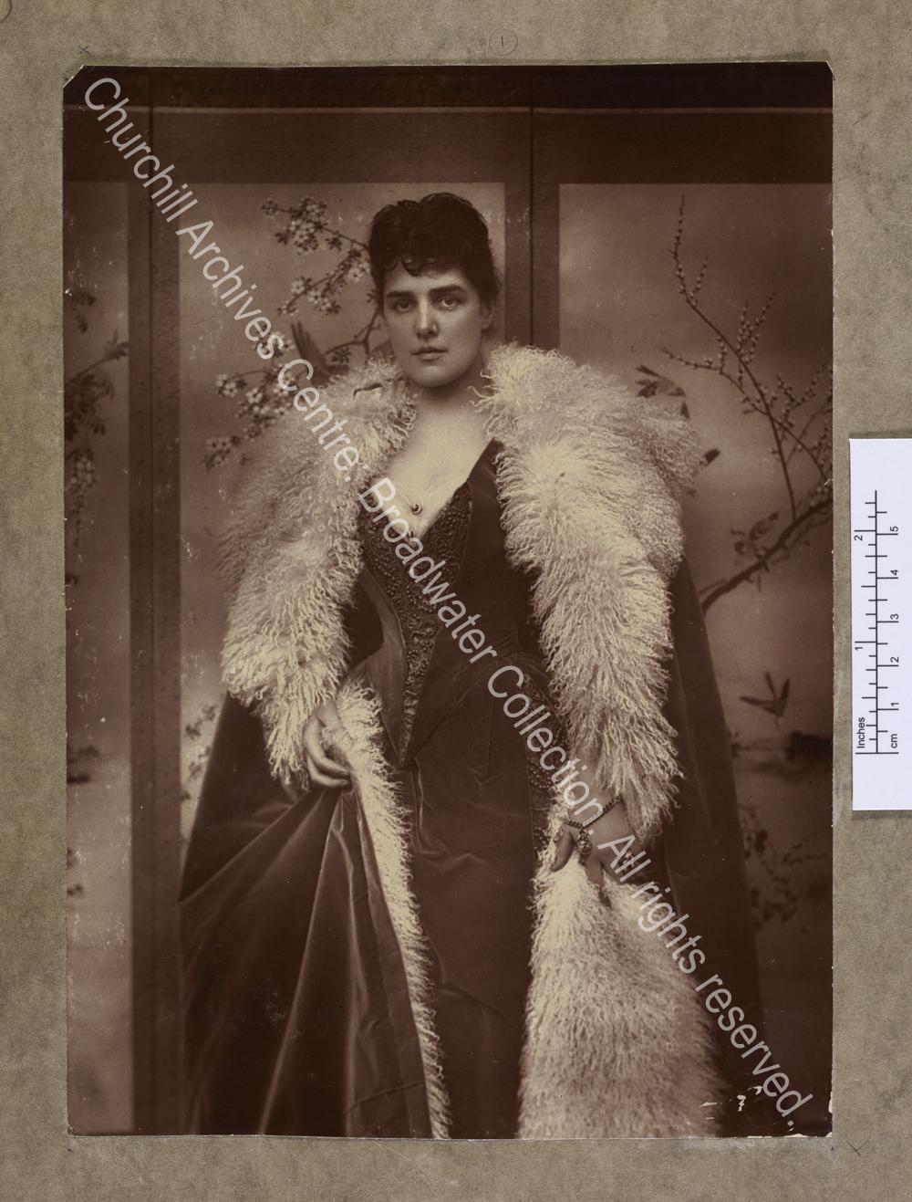 Three-quarter length photograph of Lady Randolph [earlier Jennie Jerome]