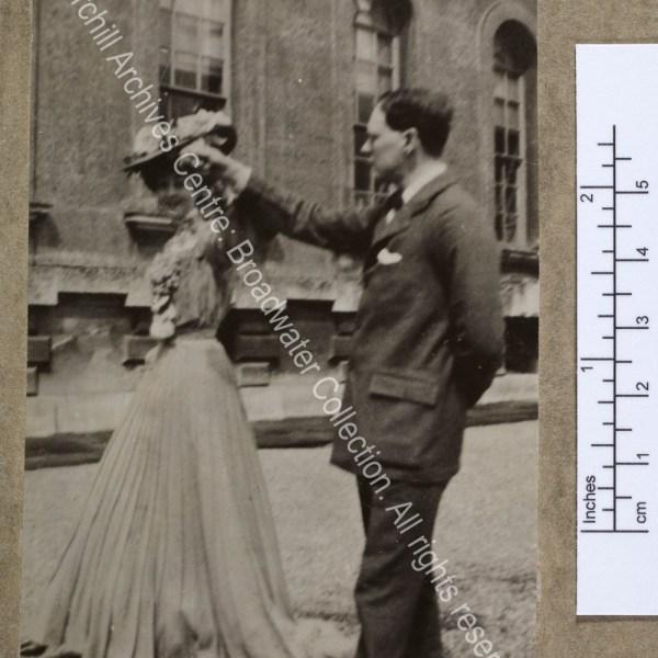 Full-length photograph of WSC with the Duchess [earlier Consuelo Vanderbilt