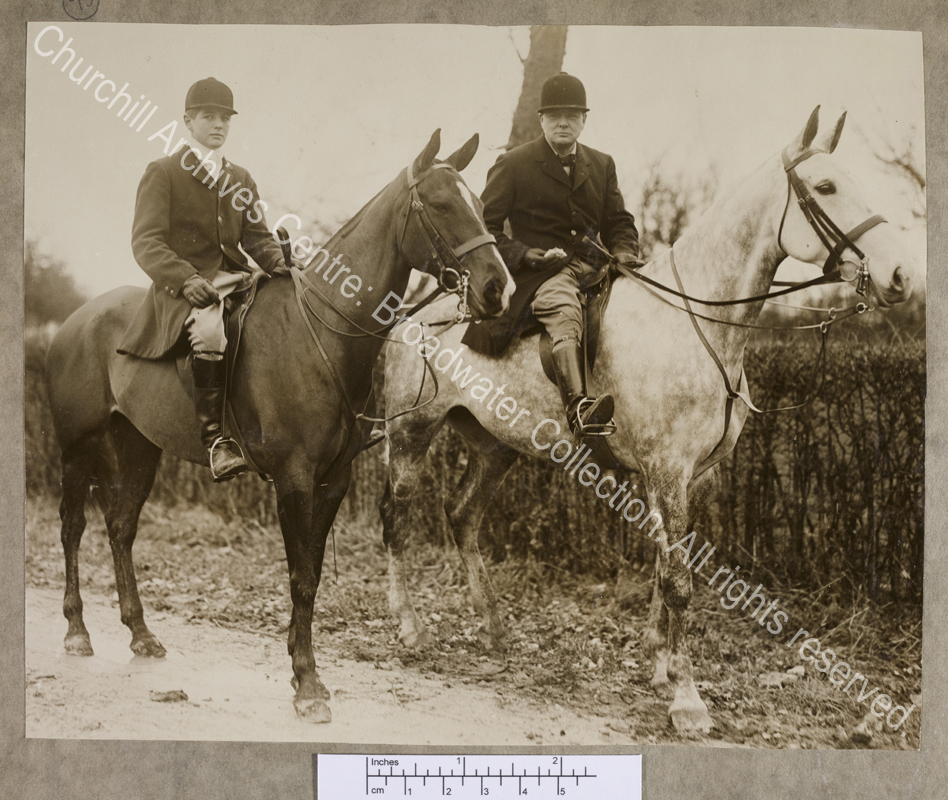 Photograph of WSC and Randolph Churchill on horseback in France