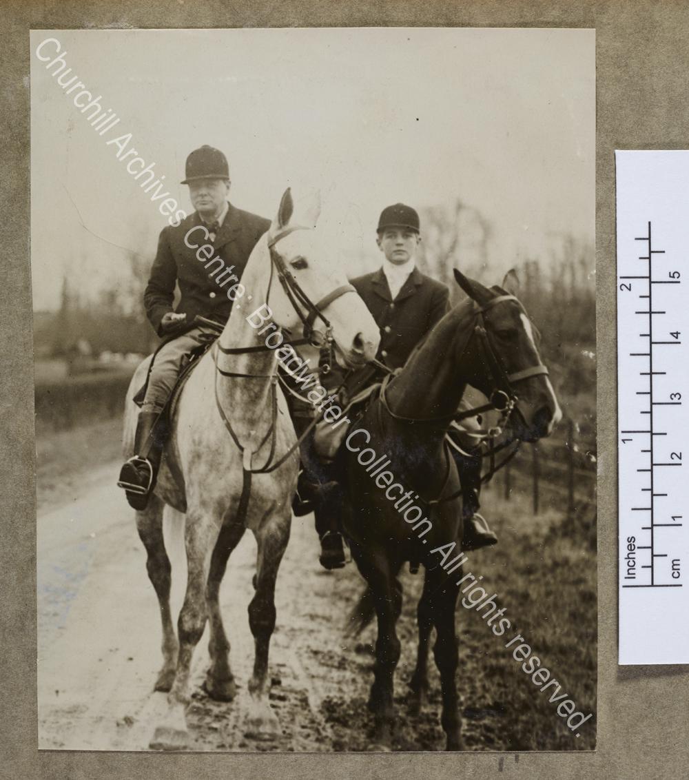 Photograph of WSC and Randolph Churchill on horseback in France