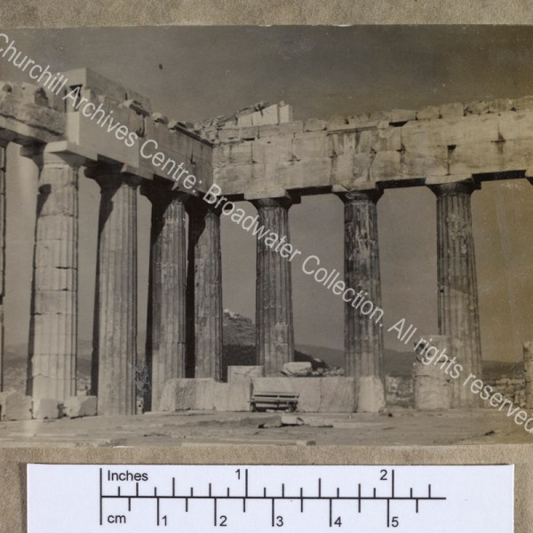 Photograph of the ruins of a classical Ionic temple [taken on a cruise of the Eastern Mediterranean on 1st Lord Moyne's yacht the Rosaura].