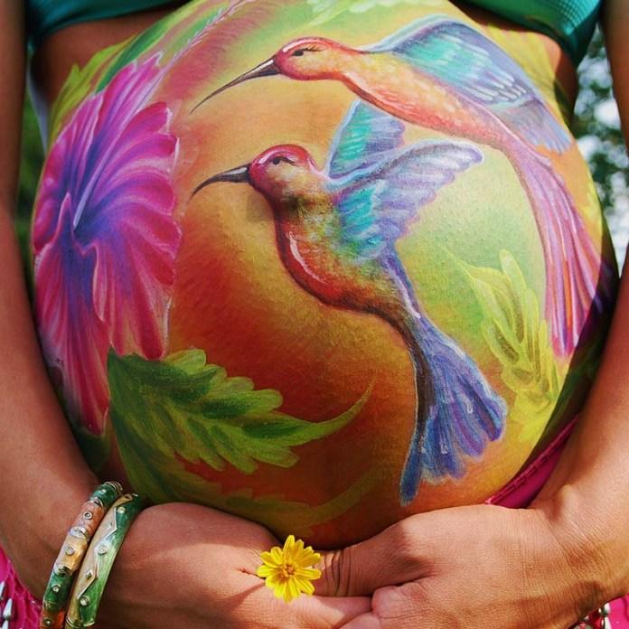 cliomakeup-prima-festa-della-mamma-belly-painting-uccellini-4