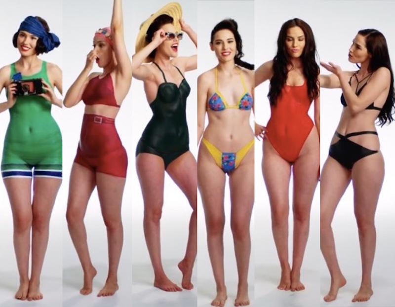 Video anni di costumi da bagno con il body painting