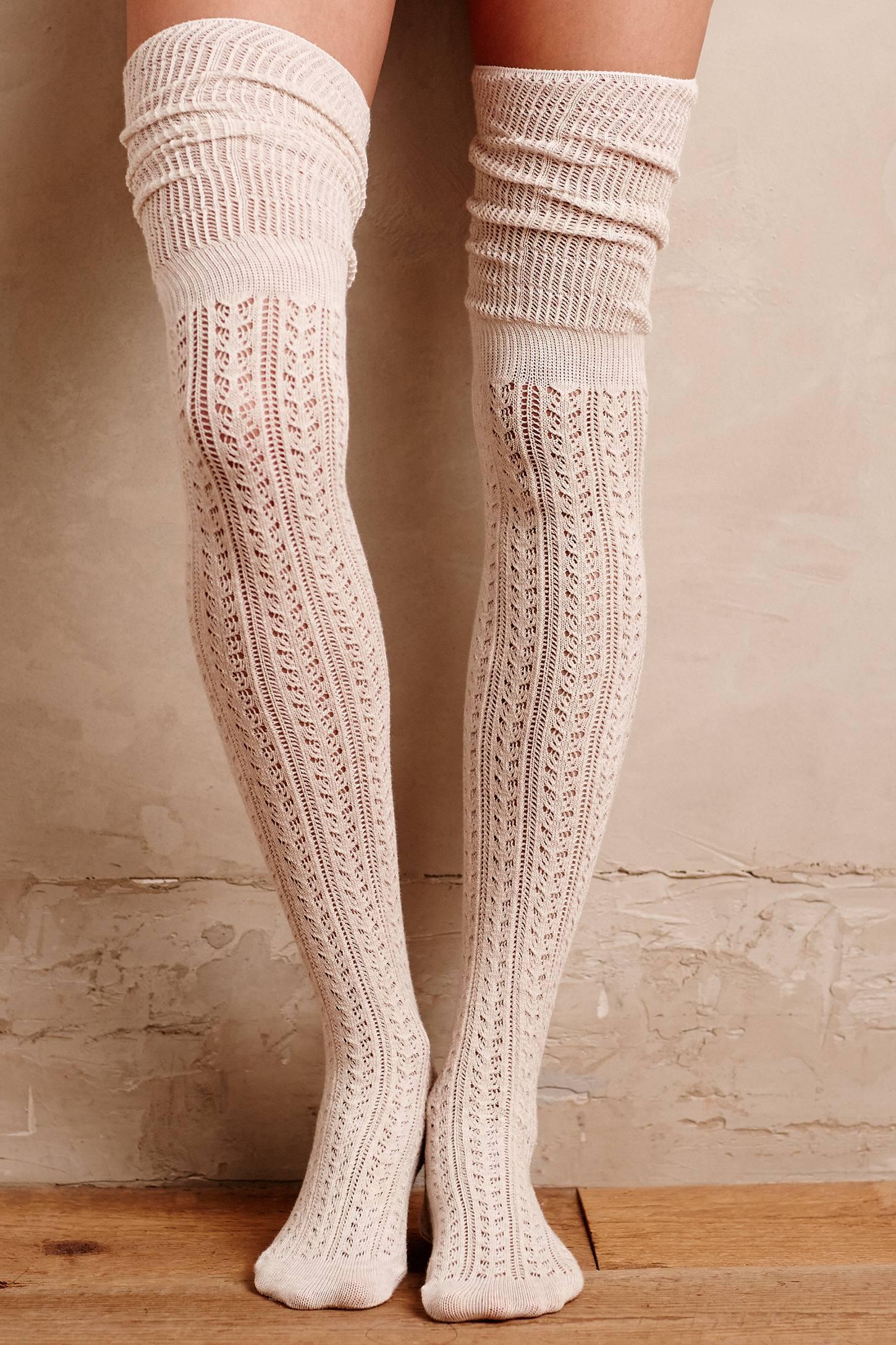 2 paia Donna Parigine Calze Caldo Cotone sopra il ginocchio Calze Oltre Ginocchio Blu