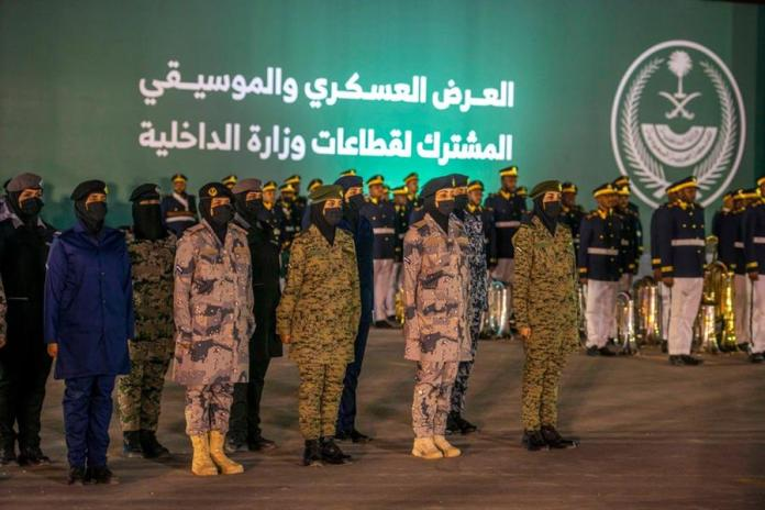 Saudi female soldiers participate in the military parade