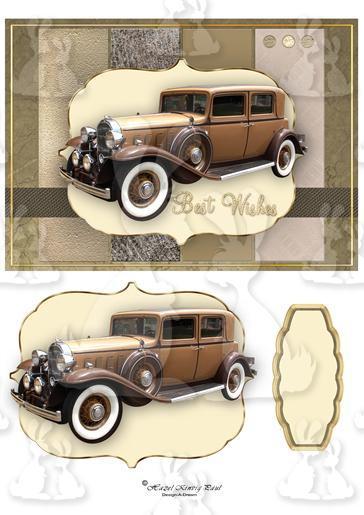 Vintage Car Card Amp Decoupage