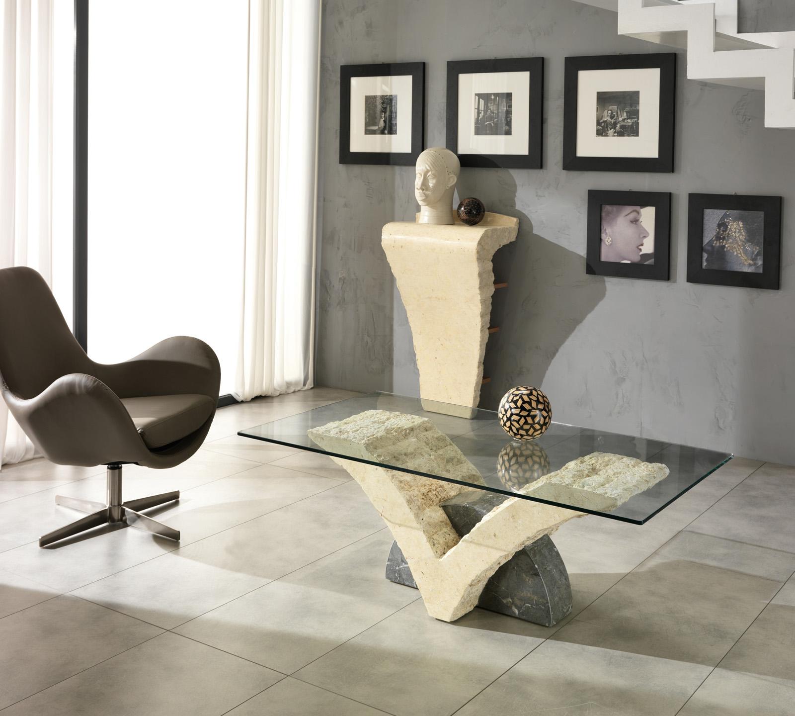 Tavolino Papillon in pietra bianca e grigia  Duzzle