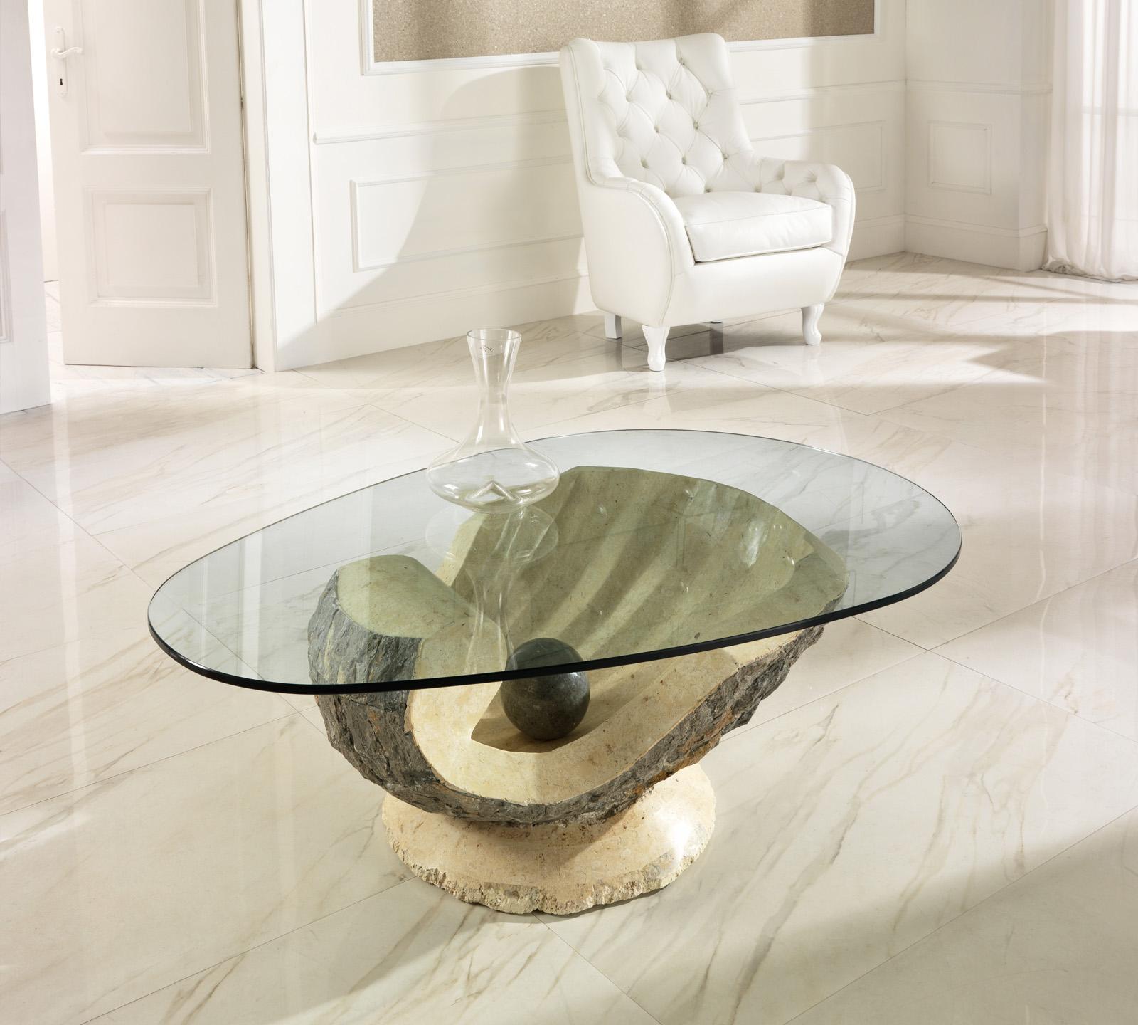 Tavolino da salotto Venere in pietra fossile  Duzzle