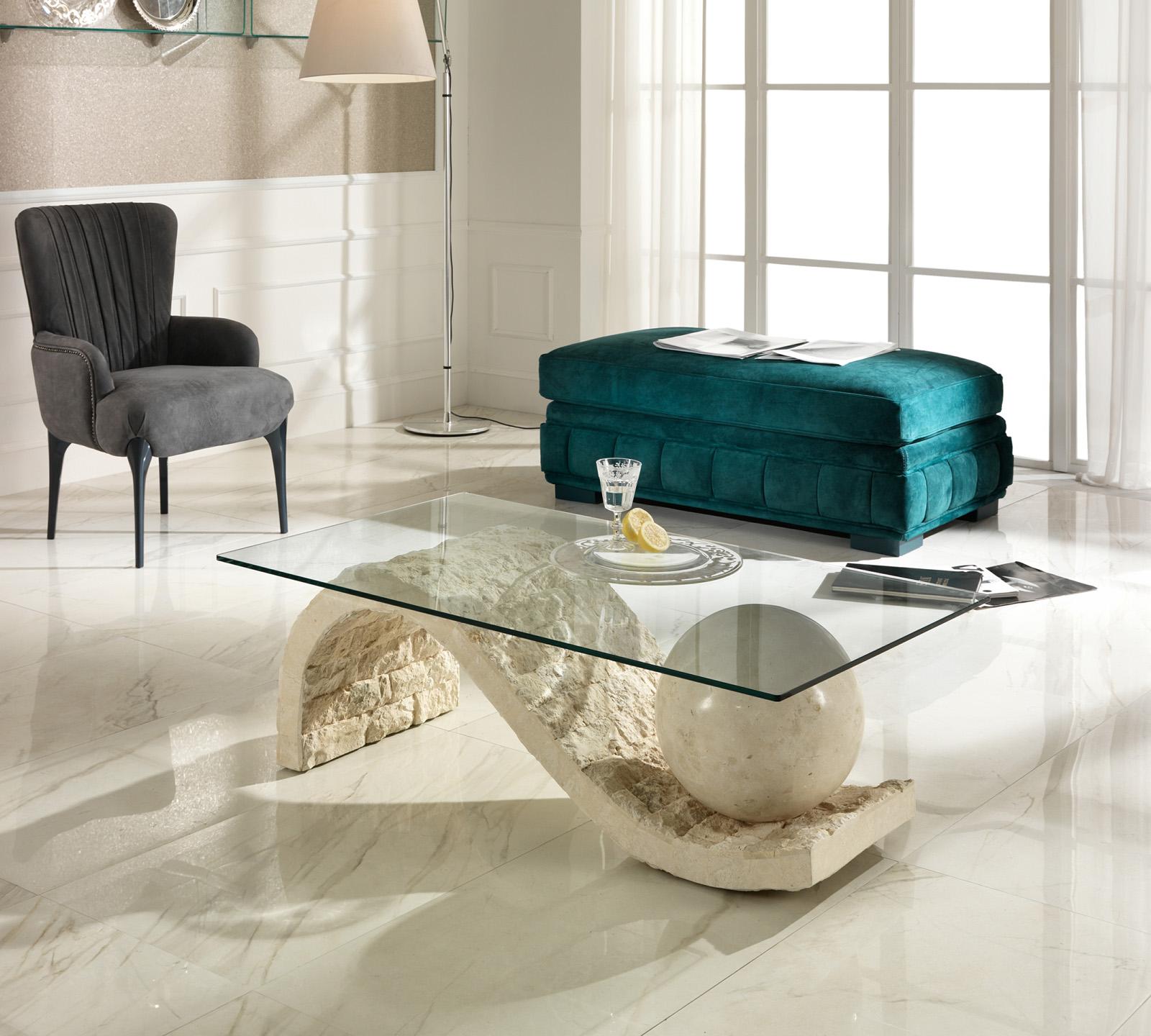 Tavolino Onda in pietra fossile bianca  Duzzle