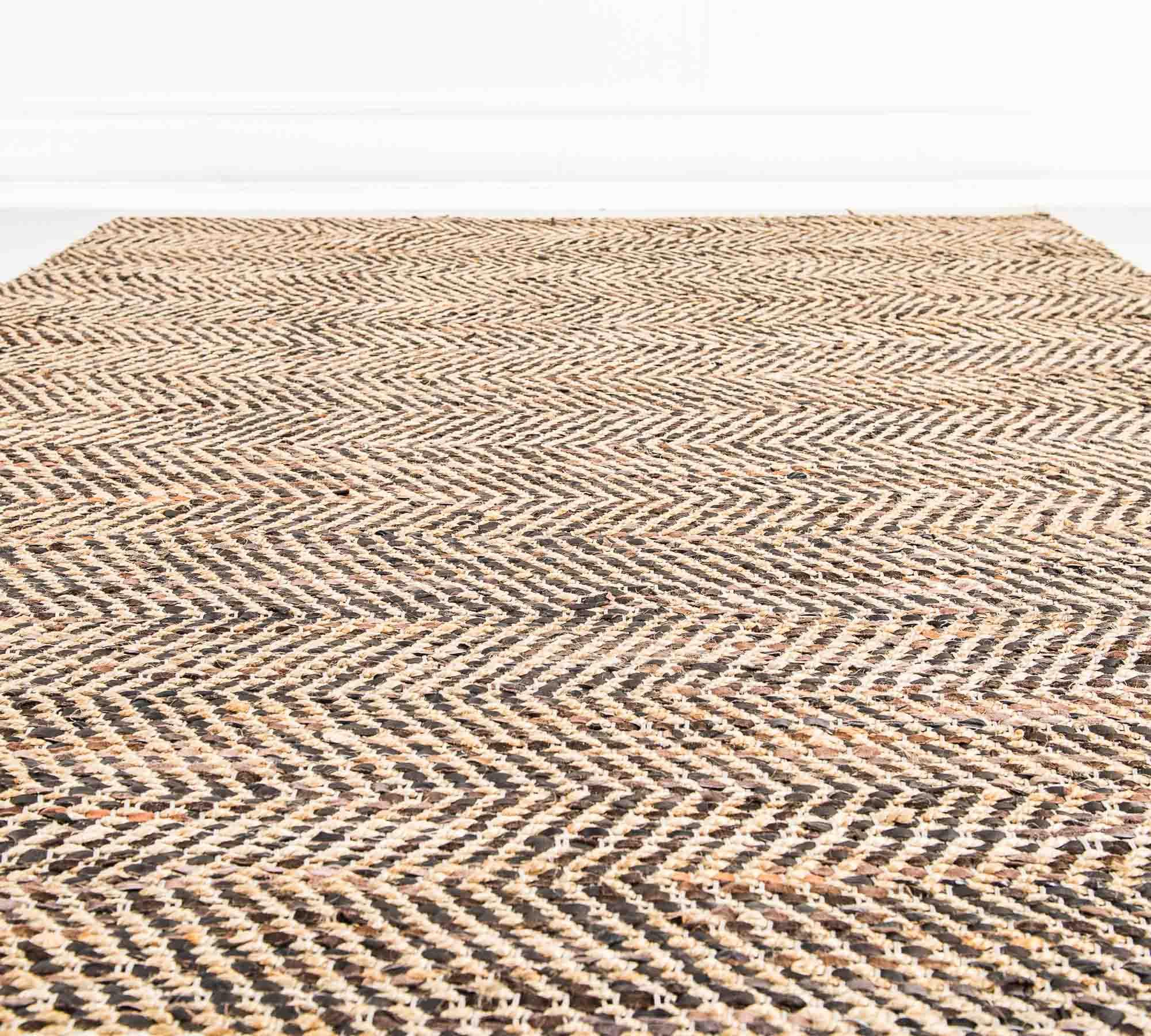 Tappeto in Juta e Pelle Marrone  200 x 300 cm  Duzzle