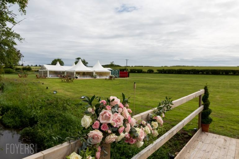 majestic wedding marquee in a field just outside Binham